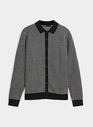 Retro shirt-collar cardigan