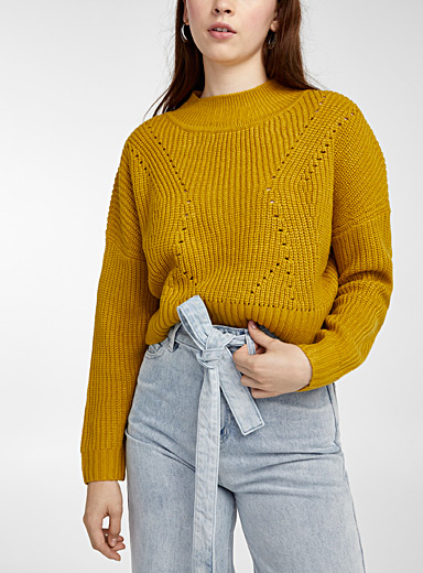 Twik Golden Yellow Openwork ribbed cropped mock neck for women
