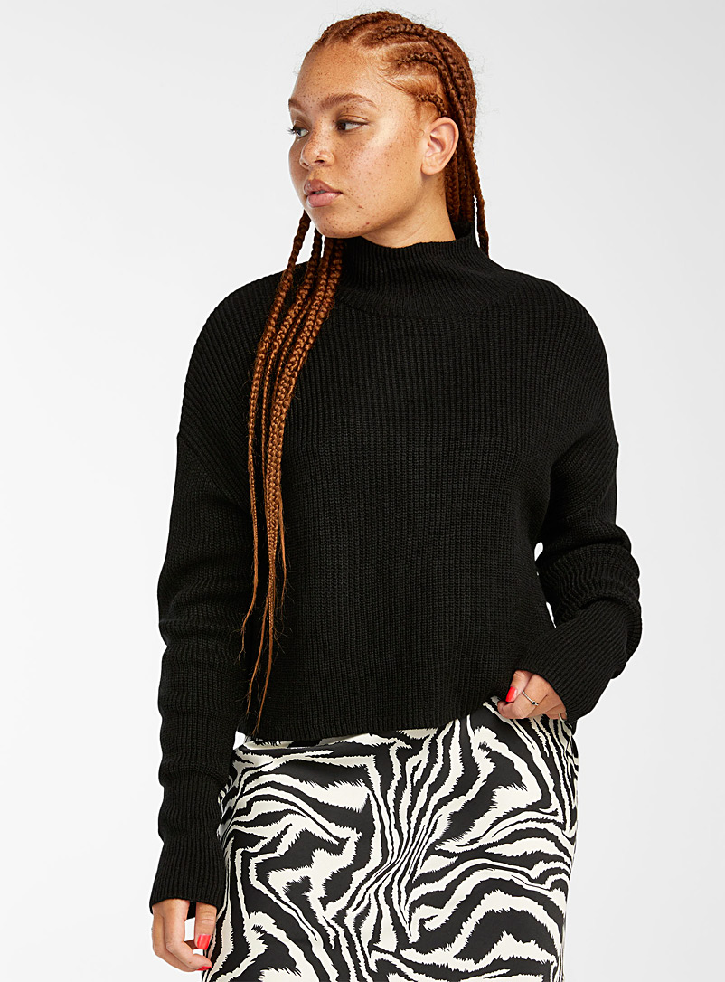 Twik Black Cropped ribbed-knit mock neck for women
