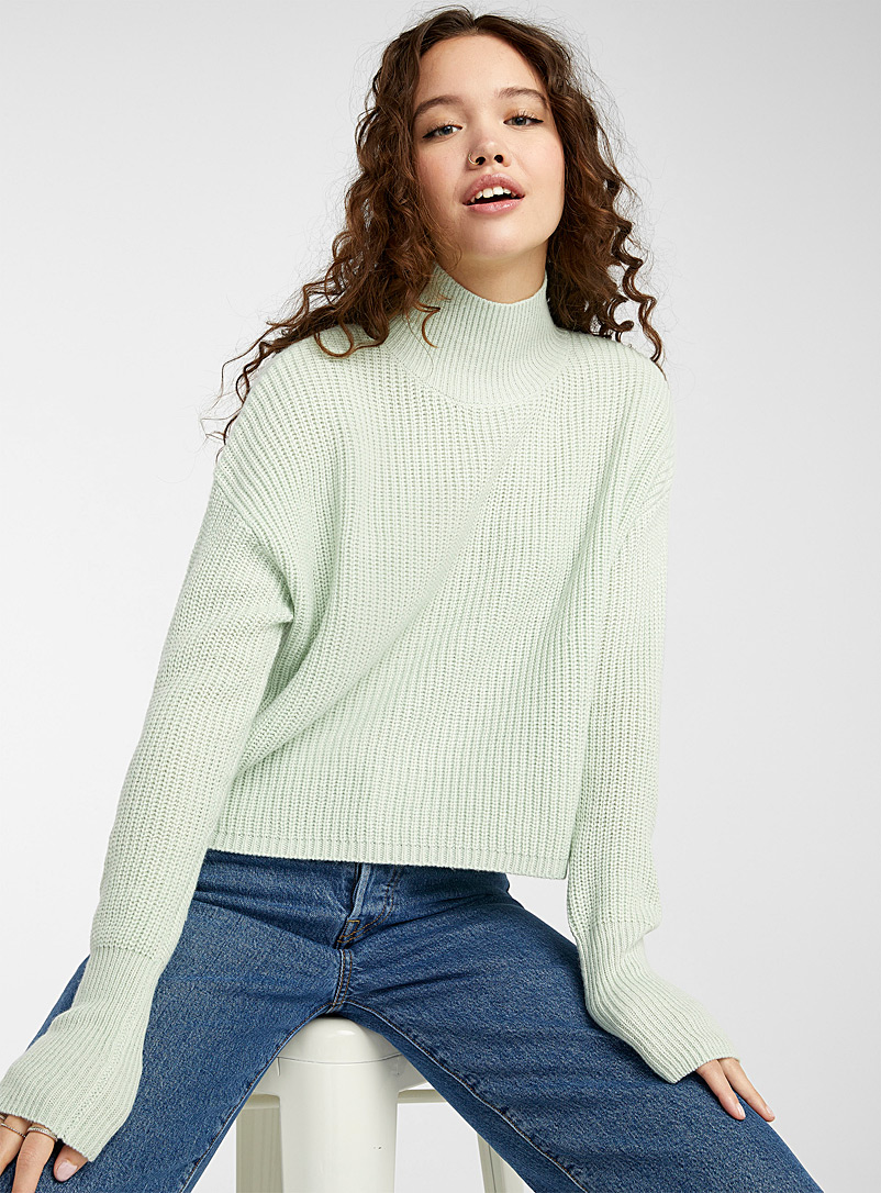 Twik Baby Blue Cropped ribbed-knit mock neck for women