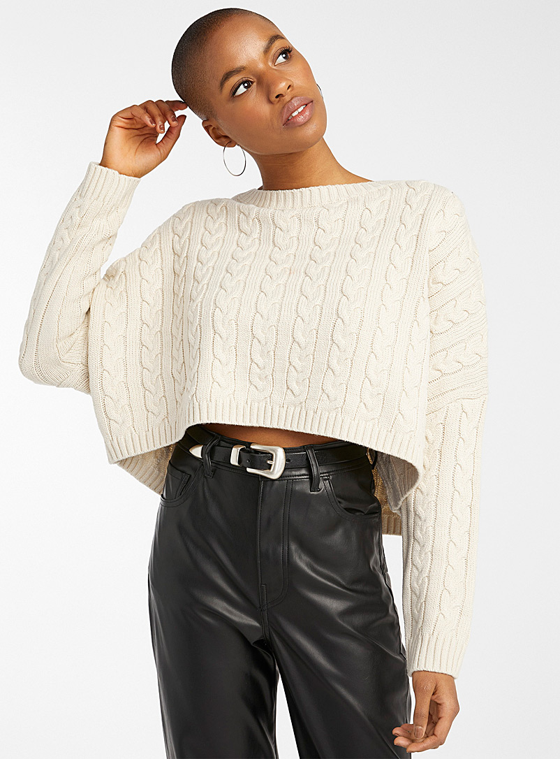 Twik Cream Beige Cable knit cropped sweater for women