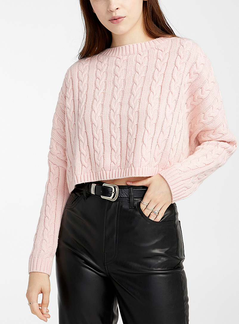 Twik Dusky Pink Cable knit cropped sweater for women