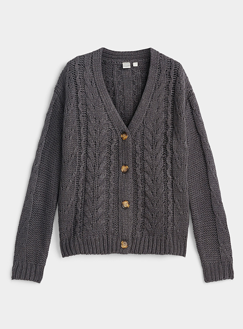 Twik Oxford Buttoned cable cardigan for women