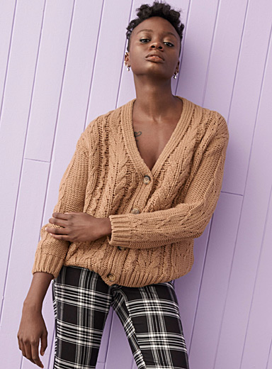 Twik Honey Buttoned cable cardigan for women