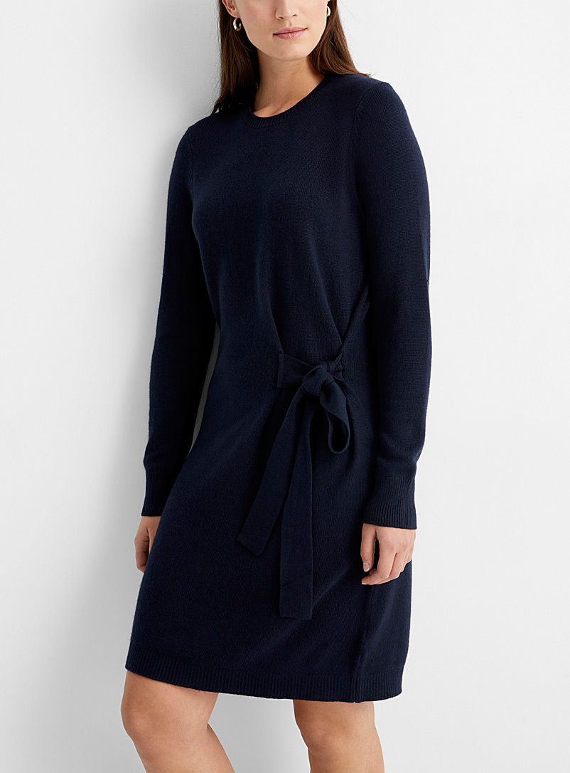 Contemporaine Marine Blue Tie-waist sweater dress for women