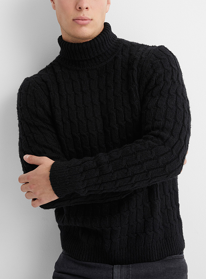 Nautical cable turtleneck sweater
