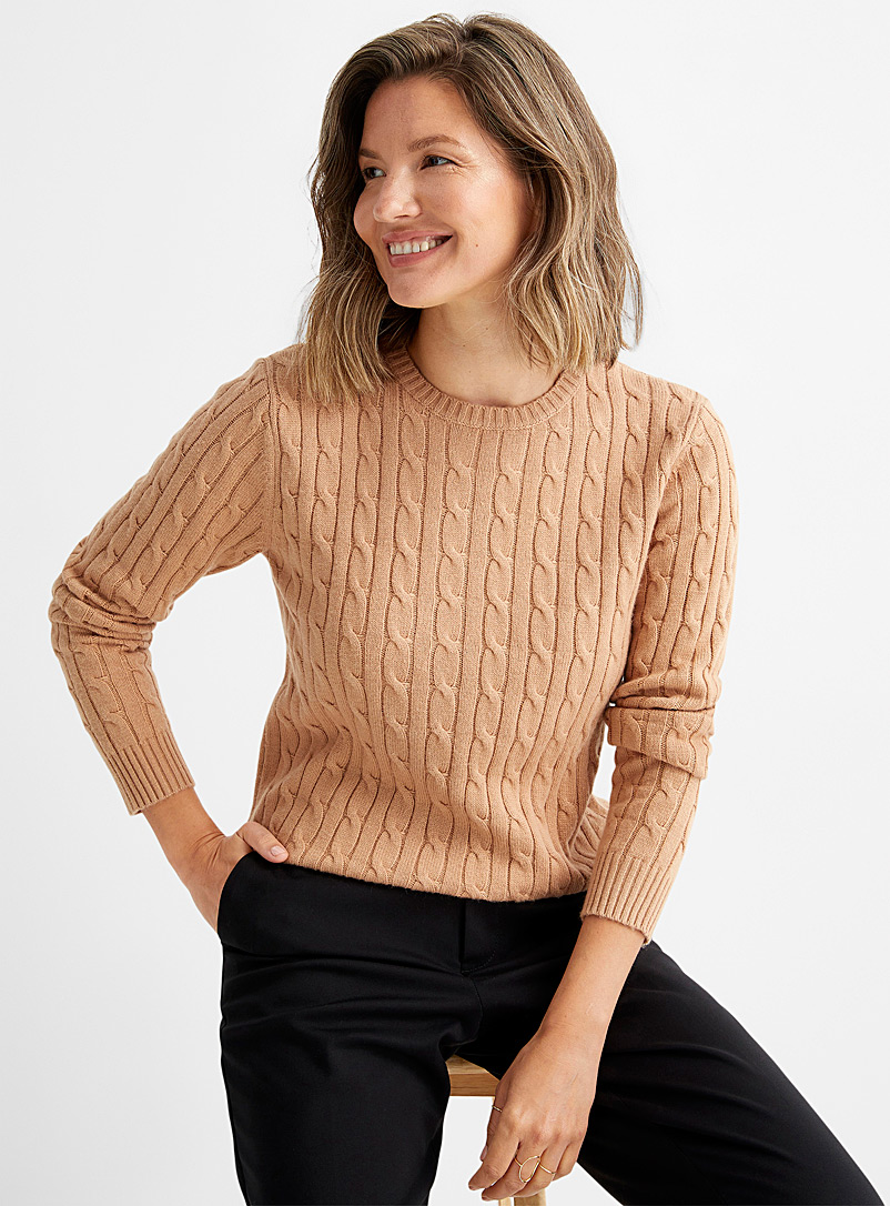 Contemporaine Honey Cable-knit crew-neck sweater for women