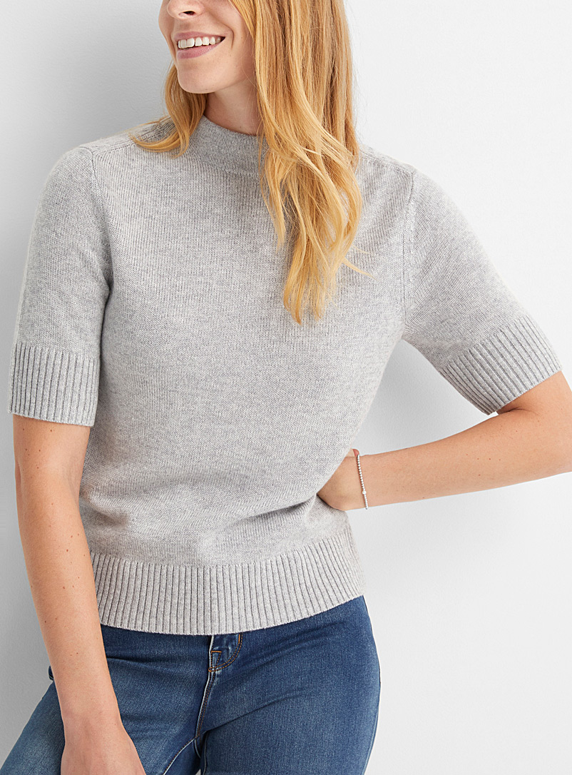 Contemporaine Light Grey Short-sleeve mock-neck sweater for women