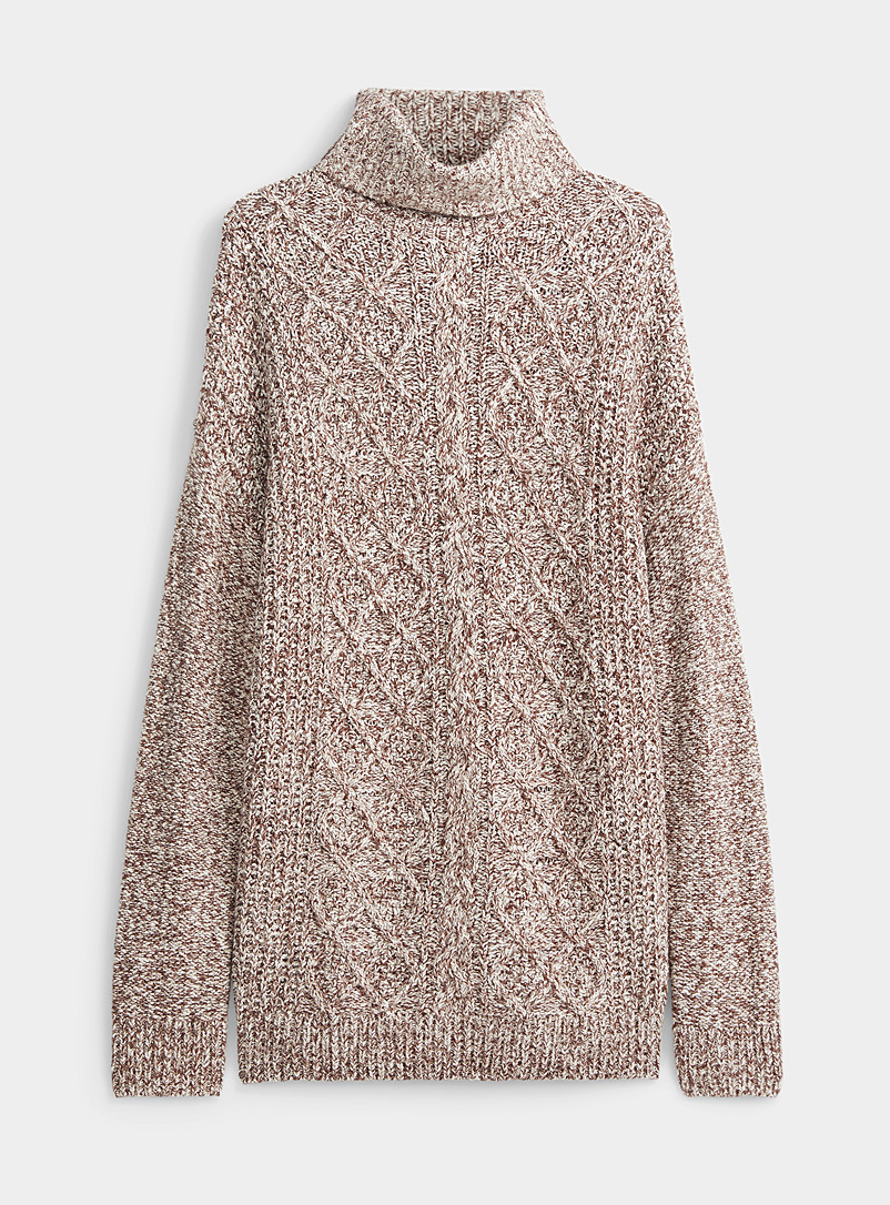 Twik Brown Diamond and cable knit turtleneck for women