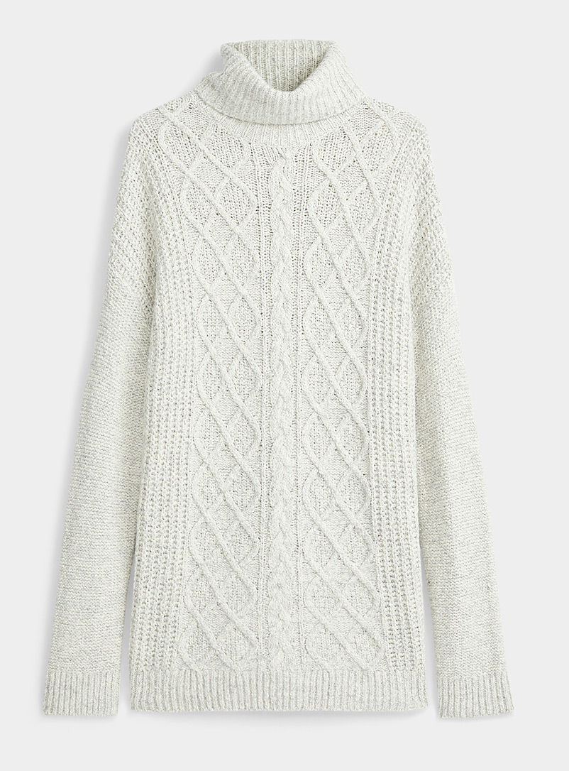 Twik Light Grey Diamond and cable knit turtleneck for women