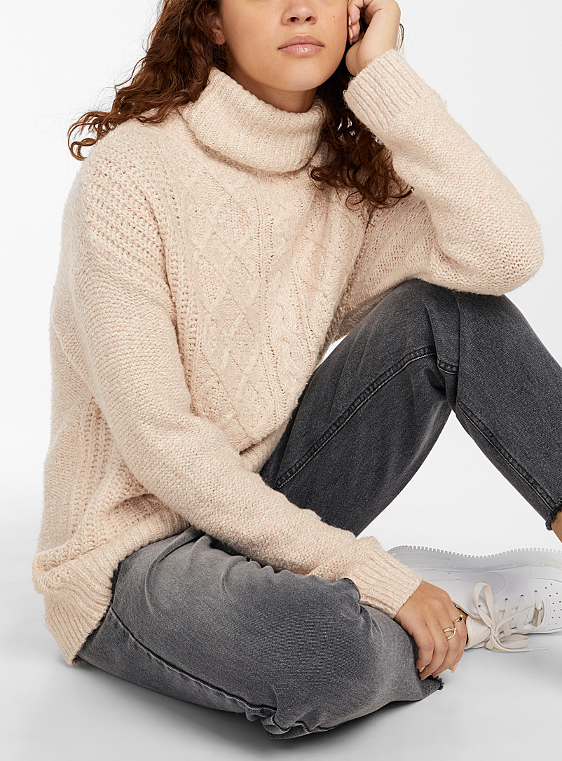 Twik Dusky Pink Diamond and cable knit turtleneck for women