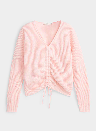Gathered V-neck cropped sweater