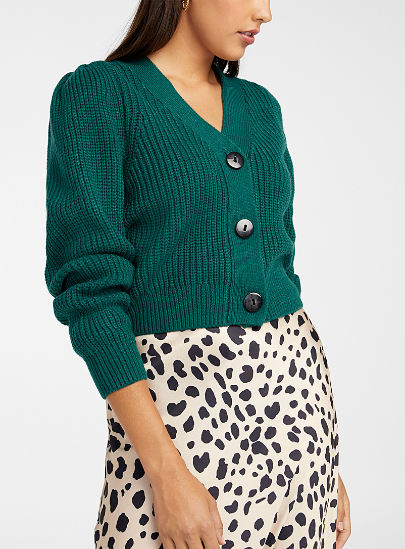 Icône Teal Puff-shoulder waffle cardigan for women