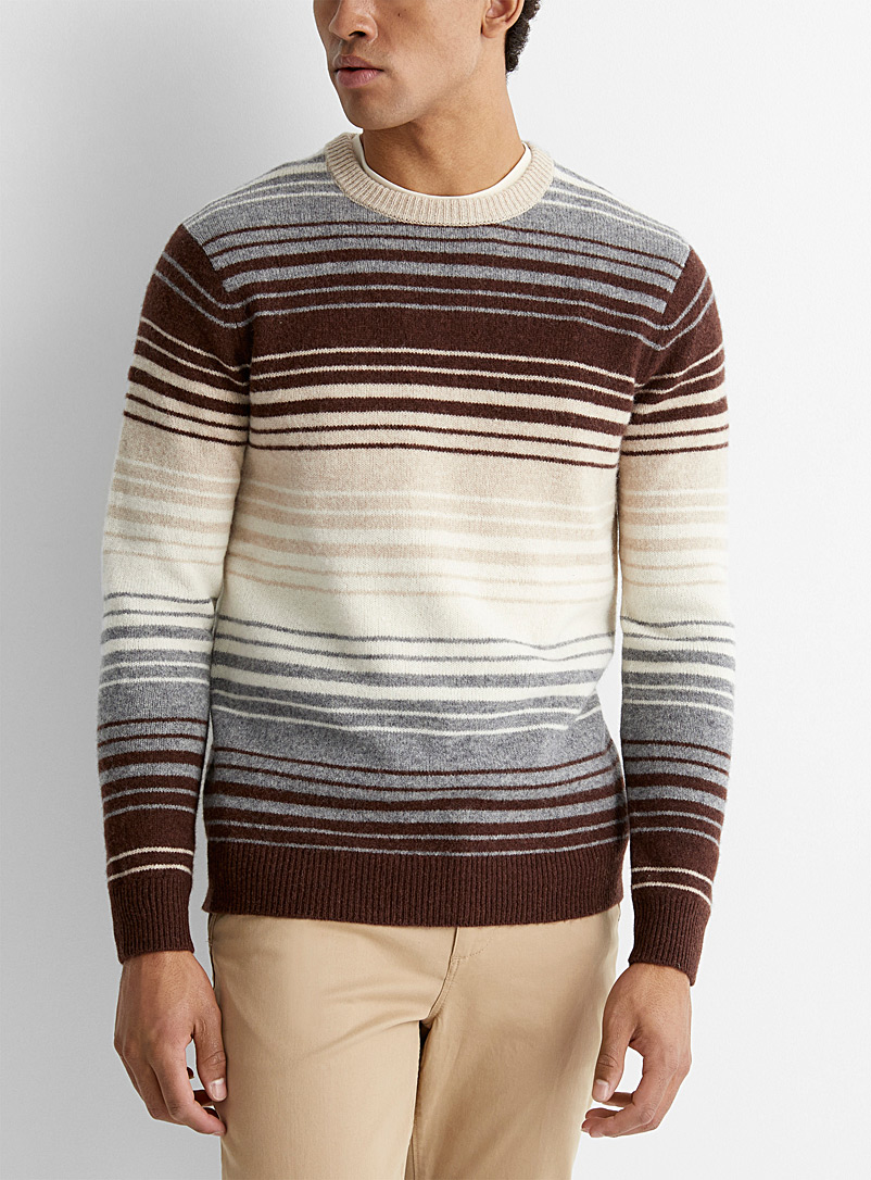 Le 31 Sand Mixed stripe lambswool sweater for men