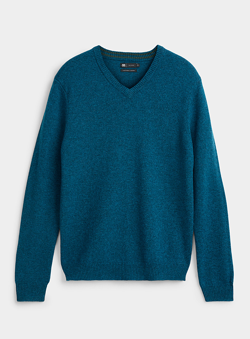 Le 31 Baby Blue V-neck lambswool sweater for men