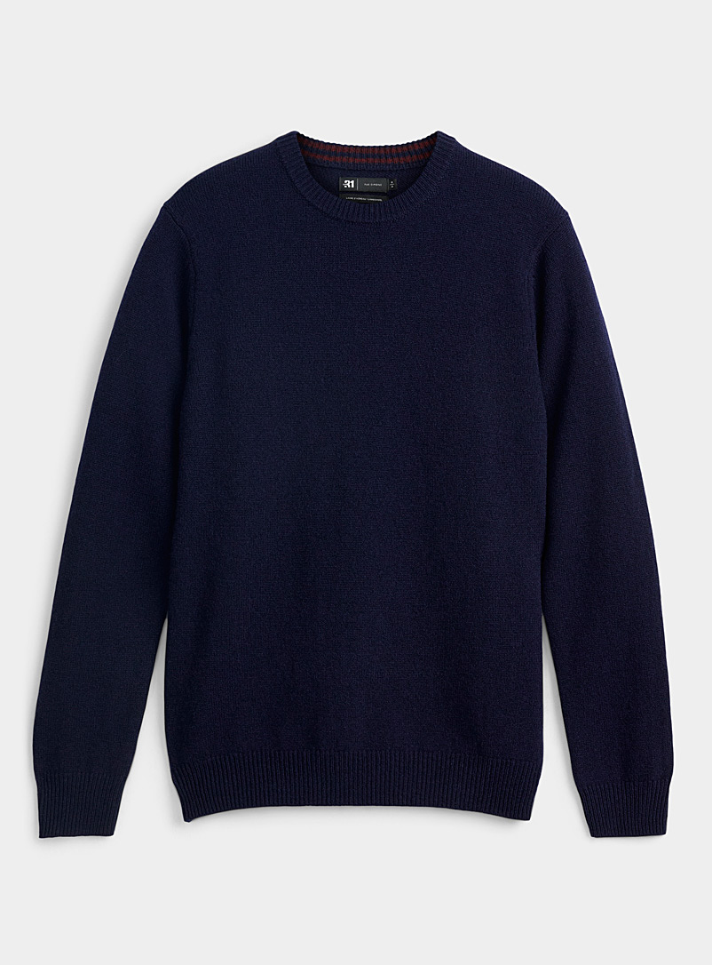 Le 31 Marine Blue Lambswool crew-neck sweater   for men