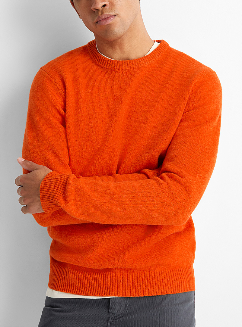 Le 31 Orange Lambswool crew-neck sweater   for men