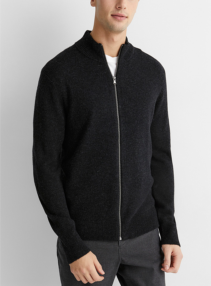 Le 31 Black Lambswool zip cardigan for men