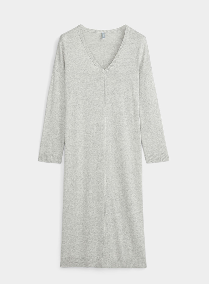 Miiyu Grey Long cashmere touch nightgown for women