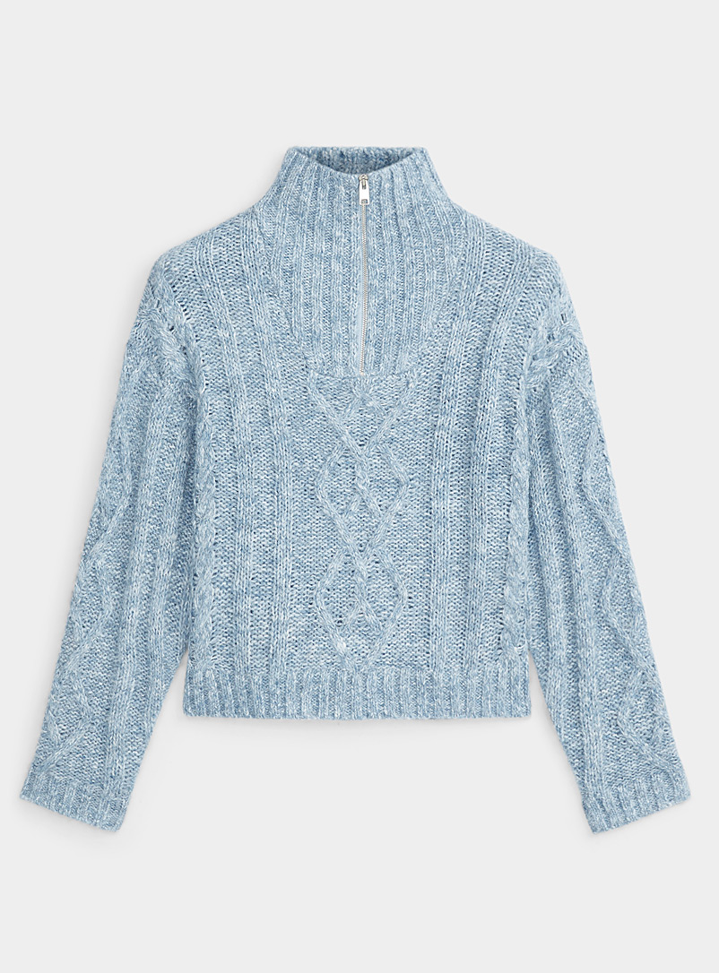 Icône Baby Blue Zip mock-neck cable sweater for women