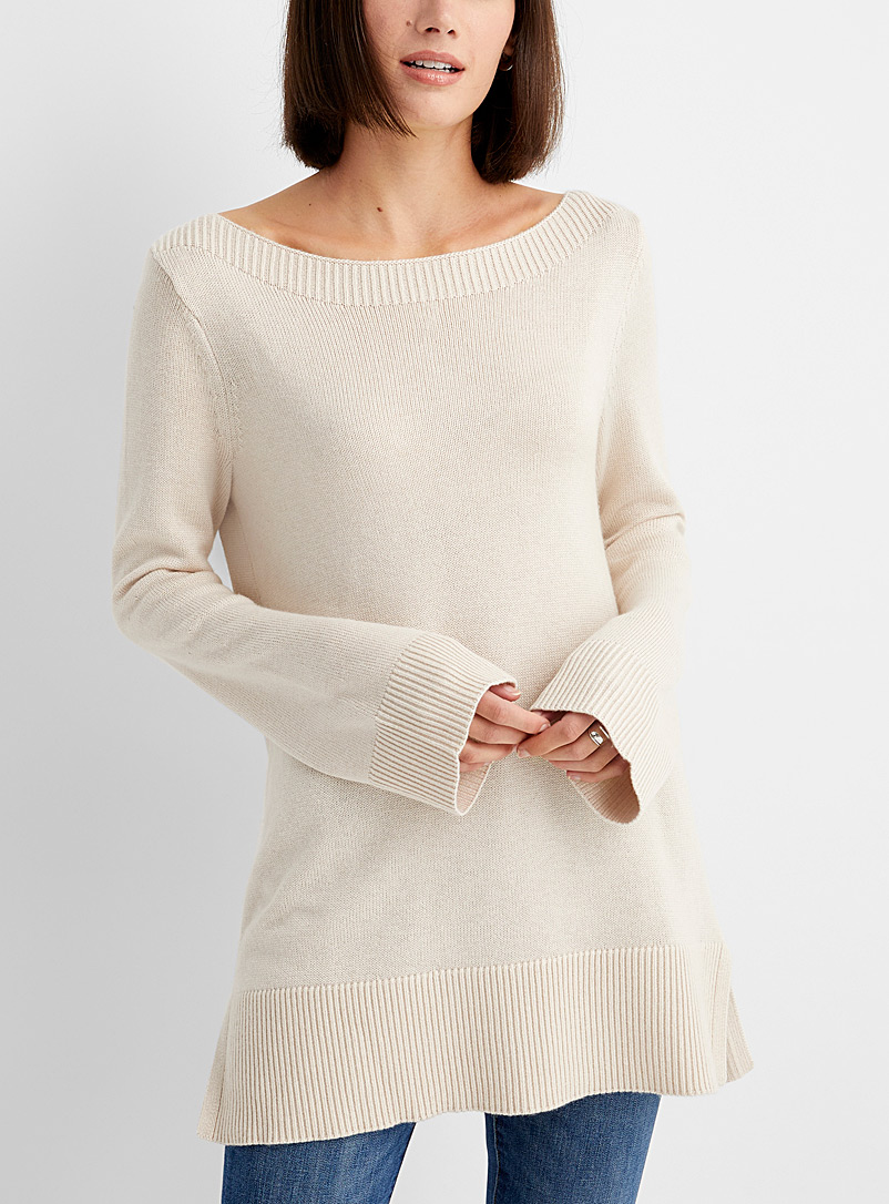 Boat-neck tunic sweater
