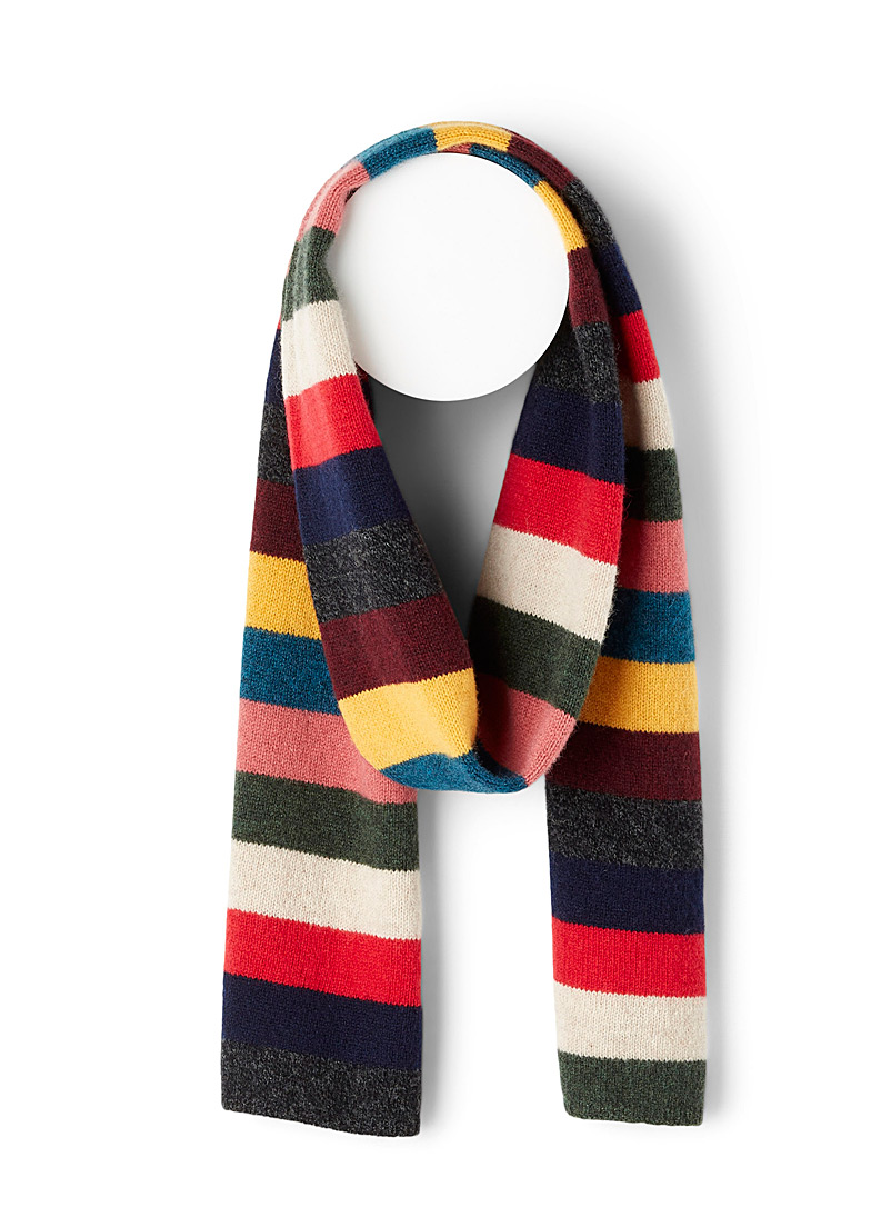 Le 31 Assorted Colourful-stripe lambswool scarf for men