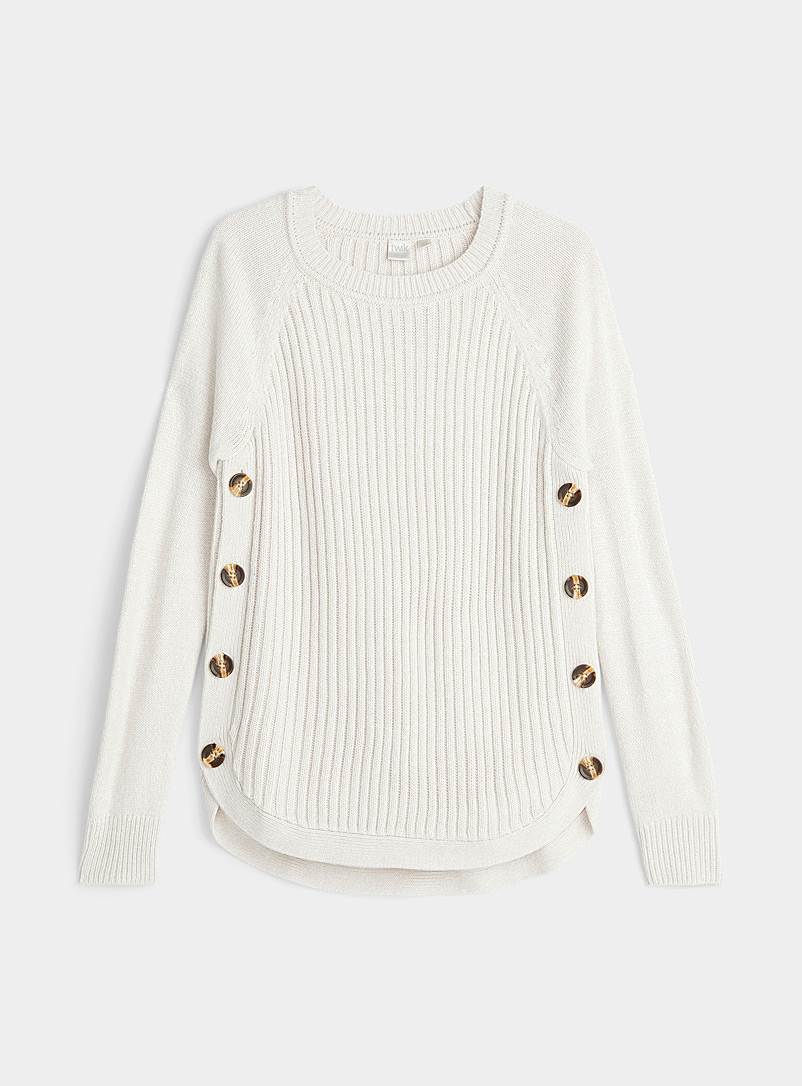 Twik Cream Beige Side button ribbed sweater for women