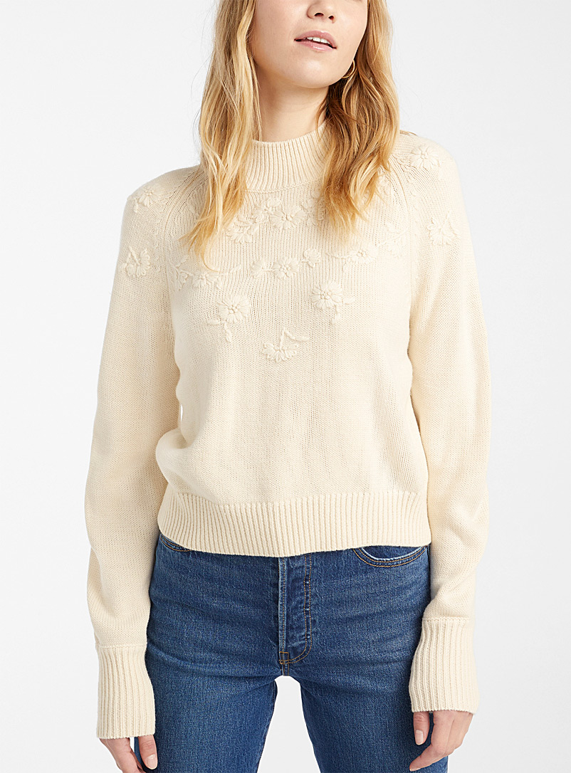 Embroidered floral mock-neck sweater