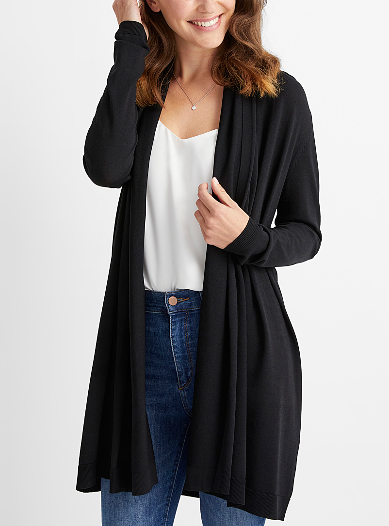 Le long cardigan drapé