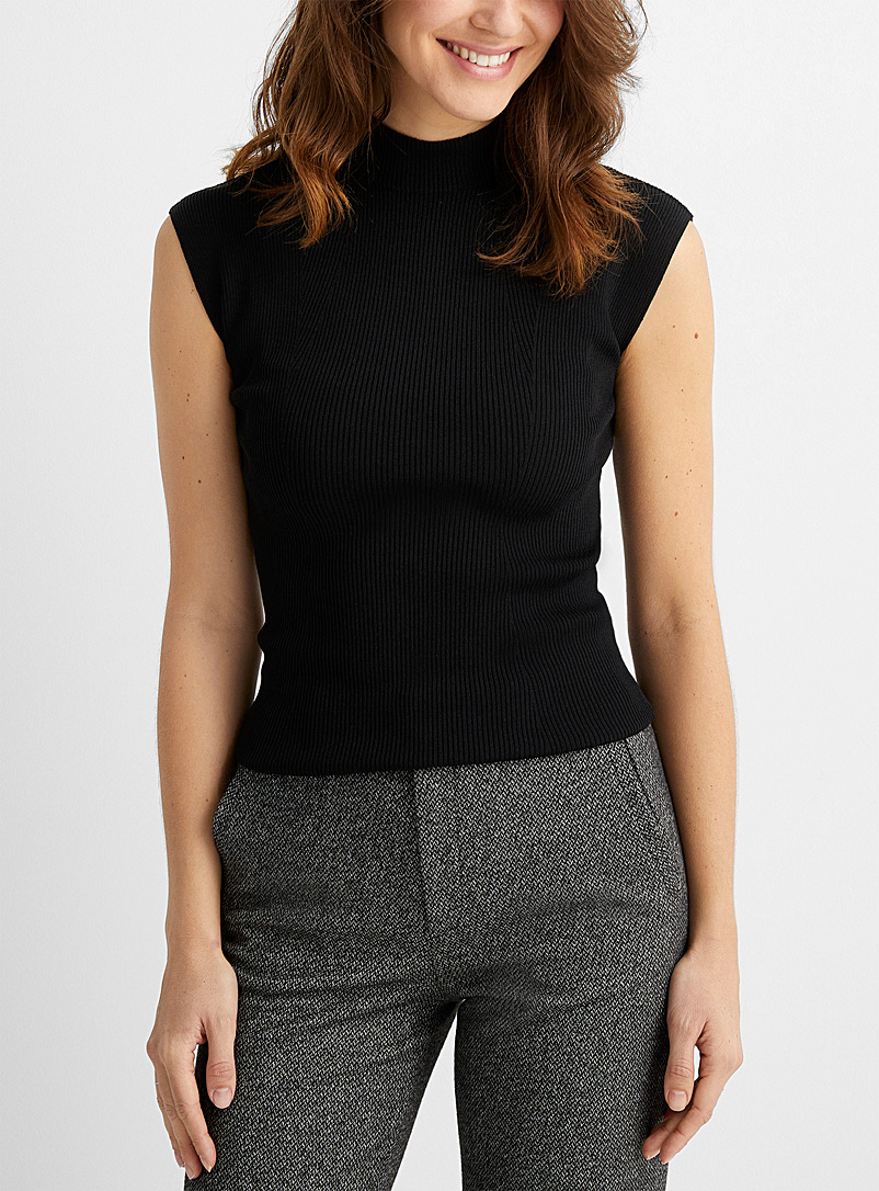 Contemporaine Black Fitted rib-knit cap-sleeve sweater for women