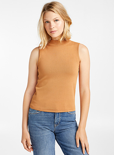 Contemporaine Fawn Mock-neck knit tank for women