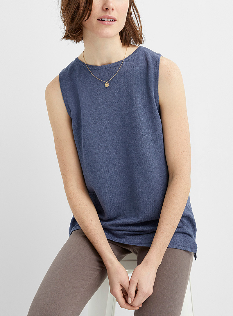 Contemporaine Dark Blue Organic linen crew-neck tank for women