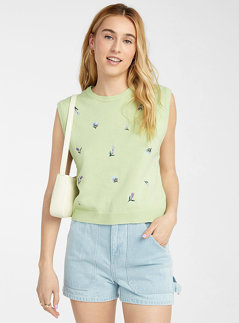 Twik Lime Green Floral embroidery tank for women