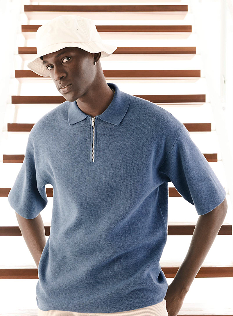 Le 31 Slate Blue Zip-collar knit polo for men