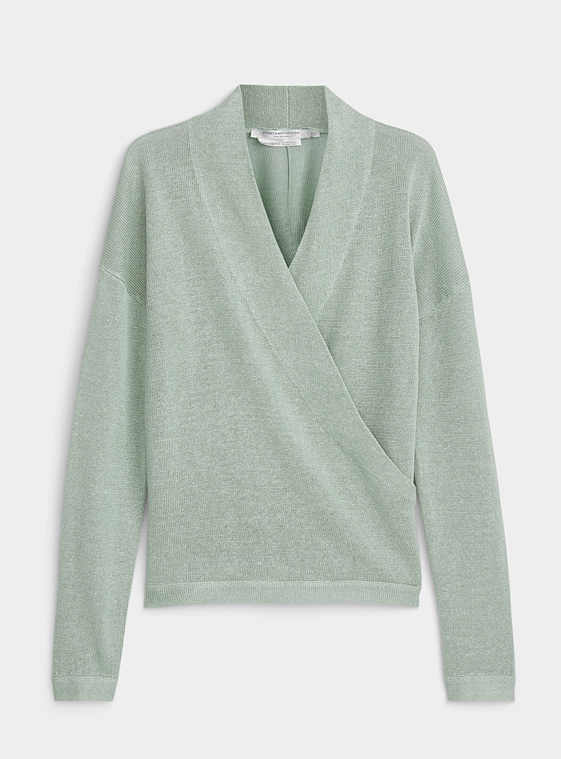 Contemporaine Lime Green Organic linen crossover sweater for women