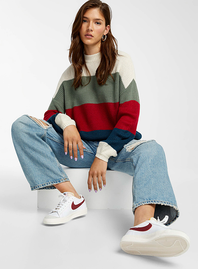 Twik Blue Recycled acrylic block stripe ribbed sweater for women