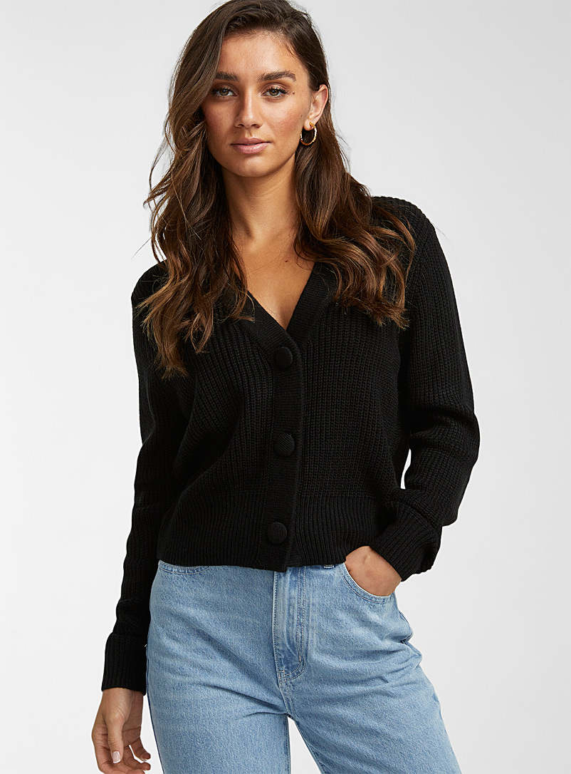 Icône Black Recycled-acrylic cropped cardigan for women