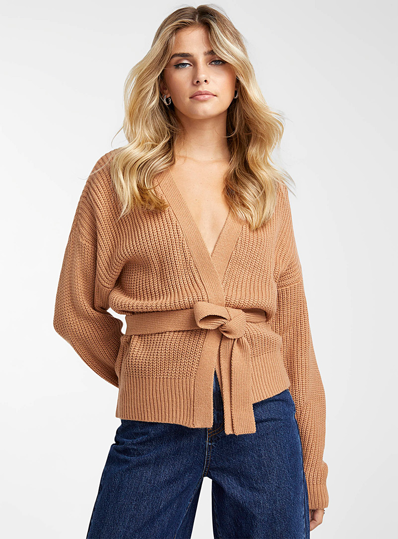 Icône Honey Recycled-acrylic crossover sweater for women