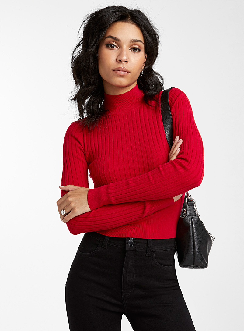 Icône Black Mock-neck cropped sweater for women