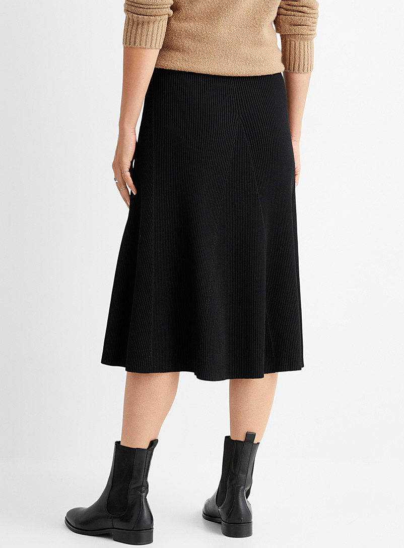 Contemporaine Sand Ribbed knit flared skirt for women