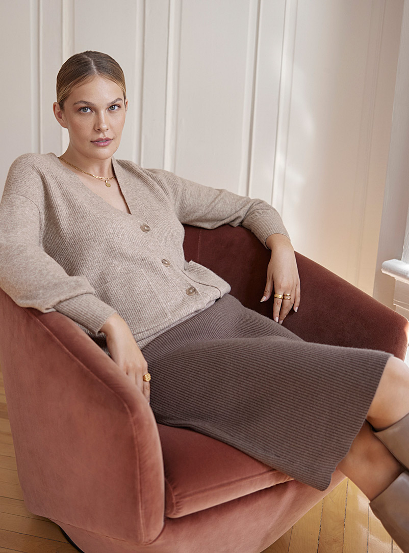 Contemporaine Light Brown Ribbed-knit straight skirt for women