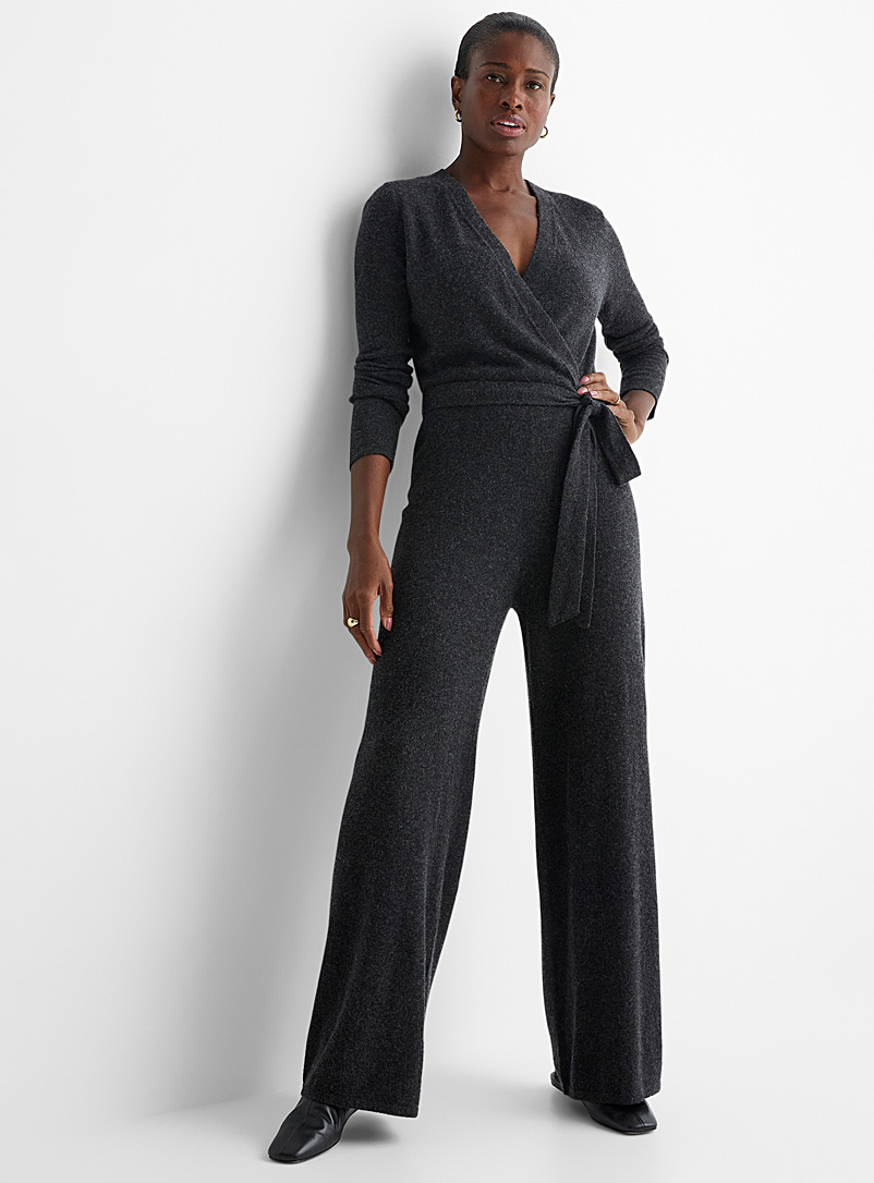 Contemporaine Charcoal Crossover collar knit jumpsuit for women