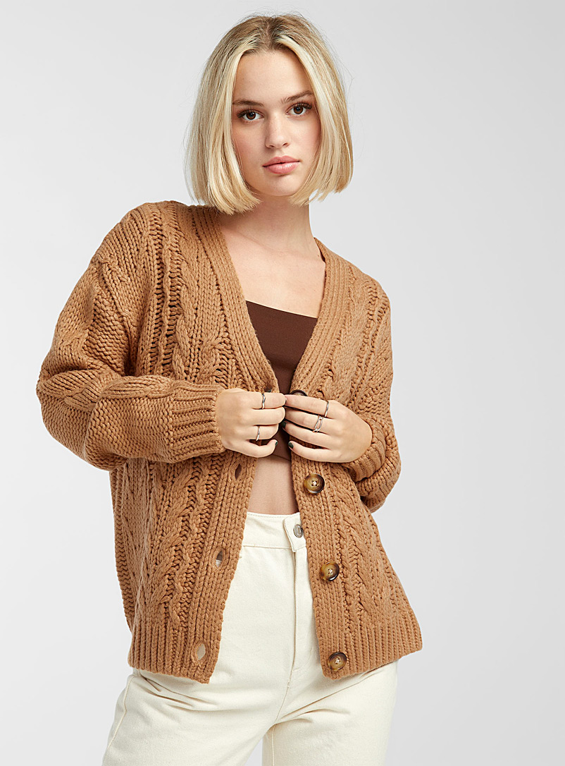 Twik Honey Recycled acrylic cable knit cardigan for women