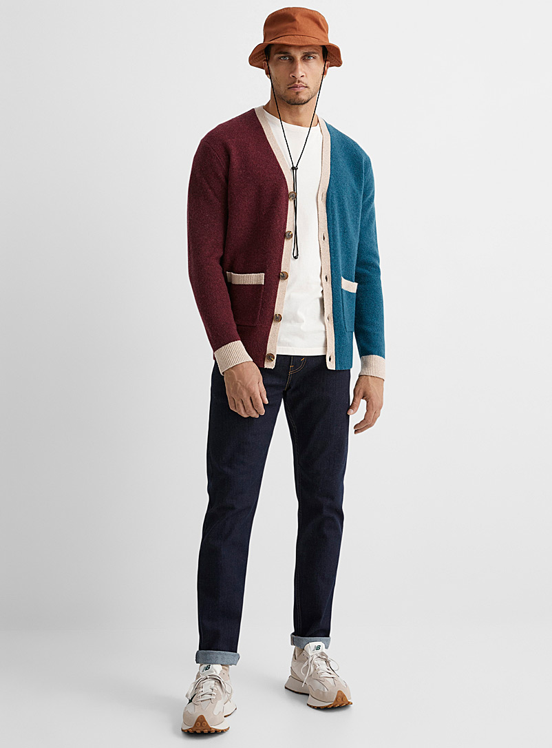 Le 31 Ruby Red Colour block knit cardigan for men