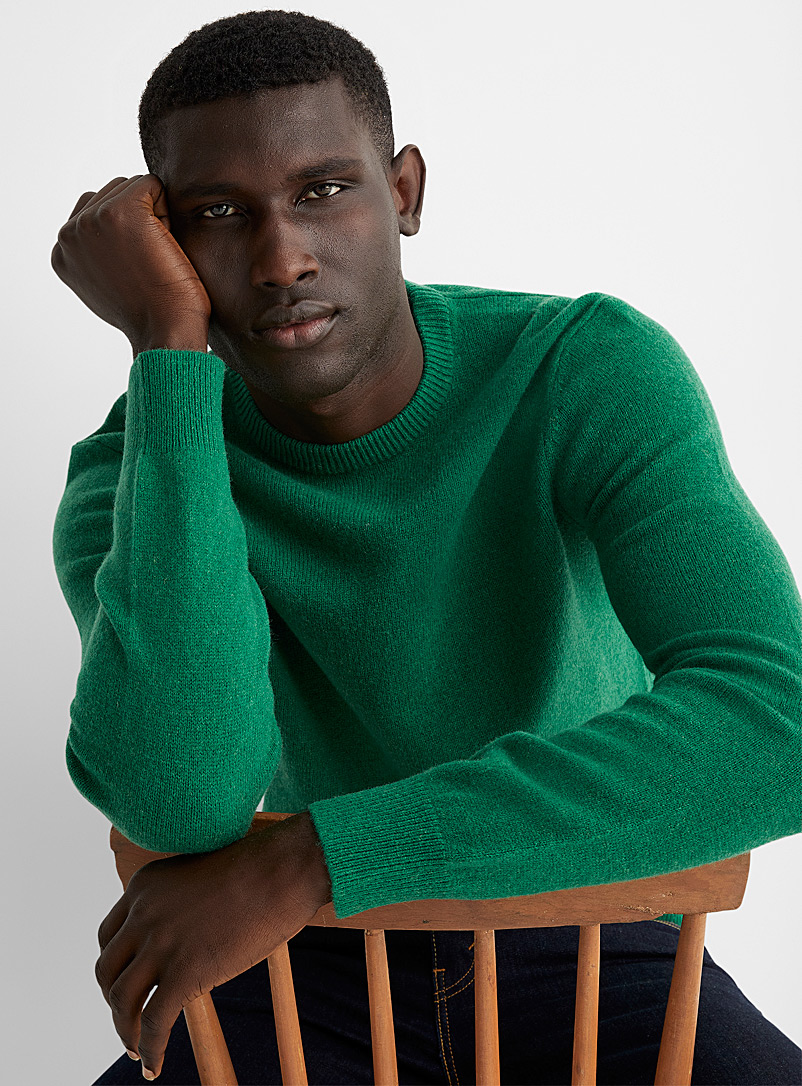 Le 31 Kelly Green Lambswool crew-neck sweater for men