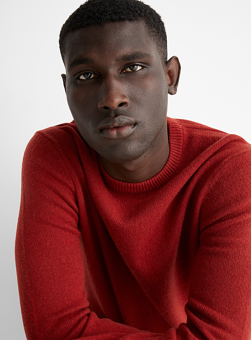 Le 31 Light Red Lambswool crew-neck sweater for men