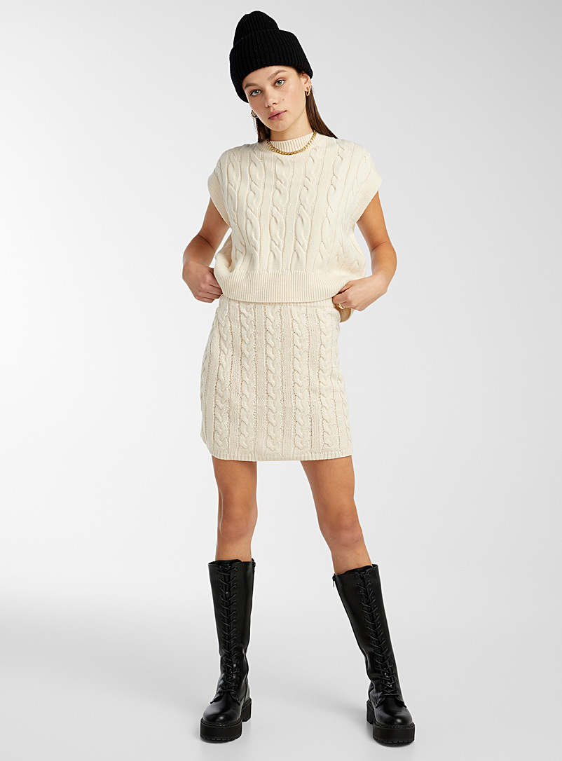 Twik Ecru/Linen Cable knit fitted skirt for women