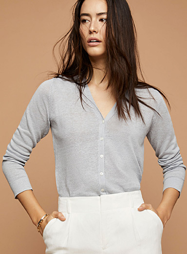 Pure linen buttoned cardigan