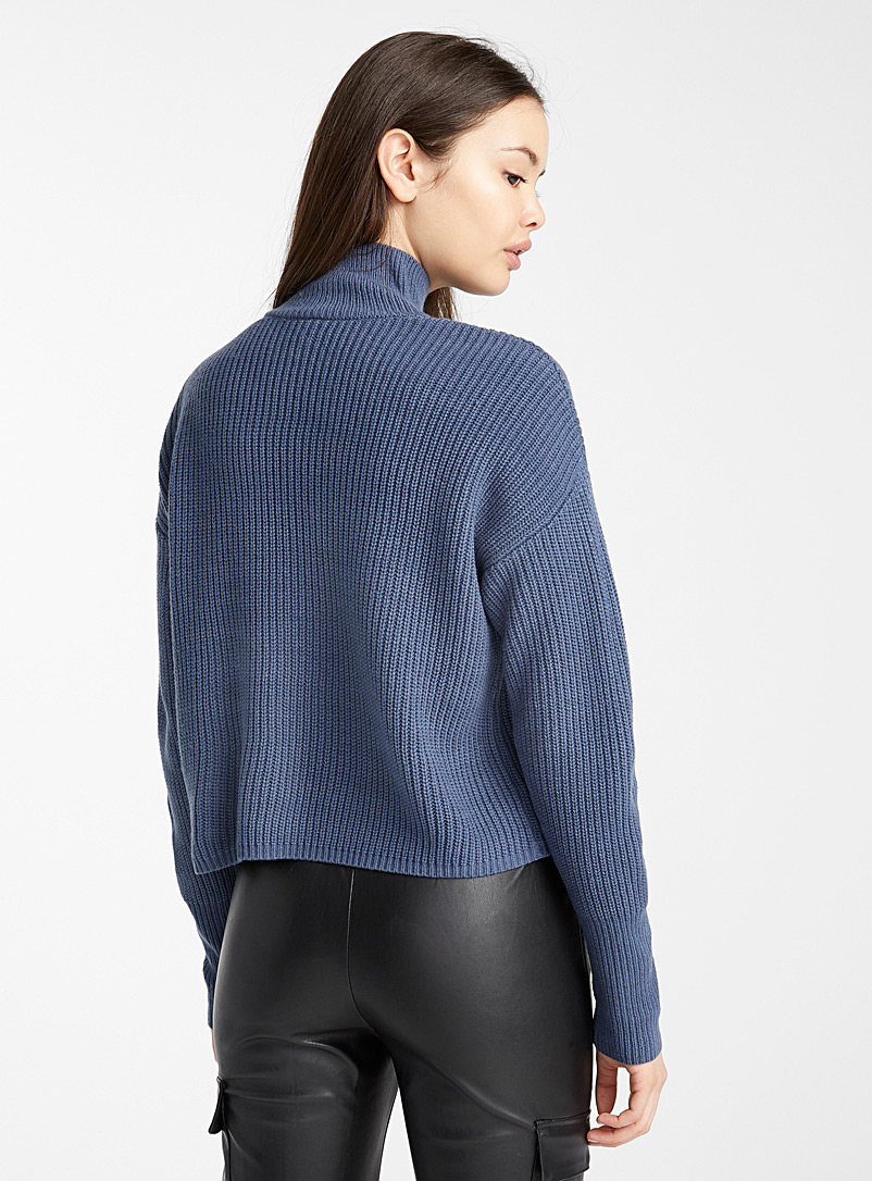 Fine rib-knit mock neck - Sweaters - Slate Blue