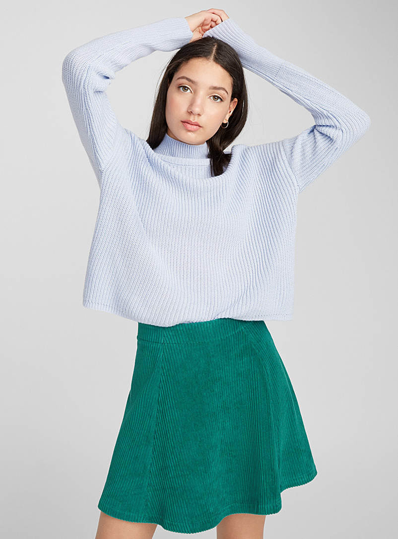 Fine rib-knit mock neck - Sweaters - Baby Blue